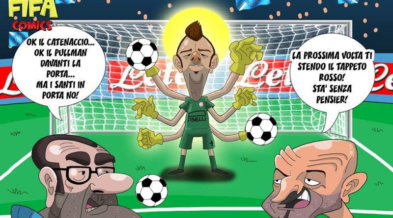 Handanovic saracinesca in Napoli-Inter di FIFA comics