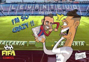 Il goal di Pazzini in Levante-Real Madrid di FIFA comics