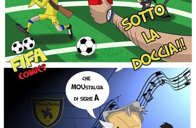Le manette di Cacciatore e Mourinho di FIFA comics