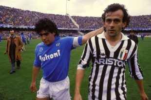 Maradona e Platini, Napoli-Juve. Fonte: wikipedia