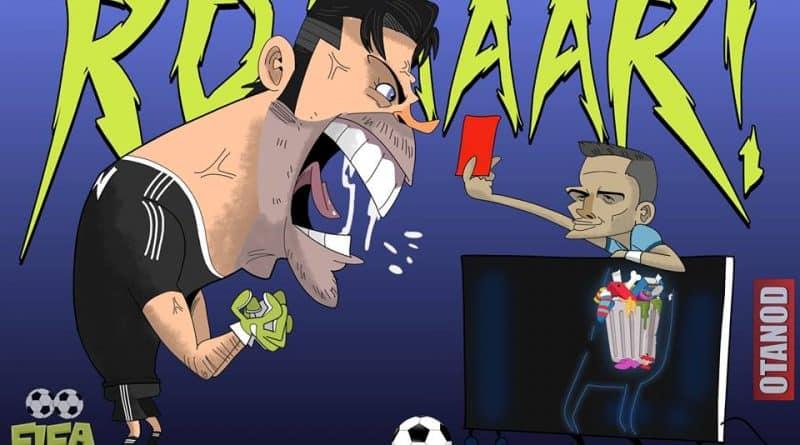 Buffon contro l'arbitro di Real Madrid-Juventus con il bidone dell'immondizia al posto del cuore di FIFA comics