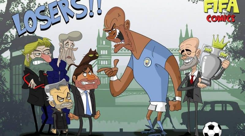 Il Manchester City di Guardiola vince la Premier League di FIFA comics