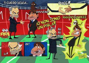 La stretta di mano tra Mourinho e Conte di FIFA comics