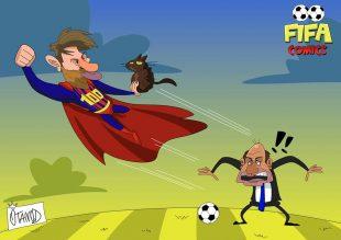 Messi fa il dispetto a Conte in Champions League di FIFA comics
