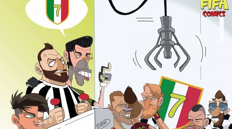 La Juventus cerca di prendere lo scudetto contro la Roma di FIFA comics