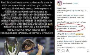 Modric risponde a futbolalreves su Instagram