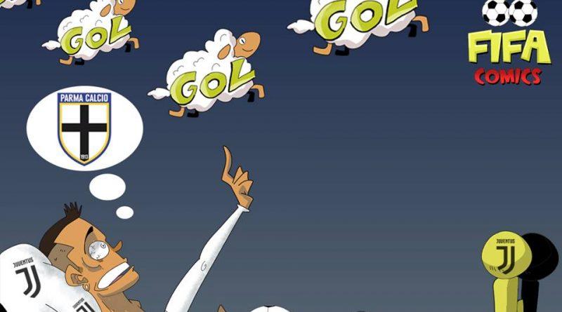 Cristiano Ronaldo sogna il primo goal contro il Parma di FIFA comics