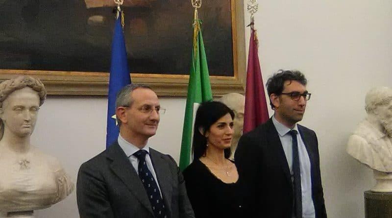 Conferenza al Campidoglio con Virginia Raggi sullo Stadio della Roma