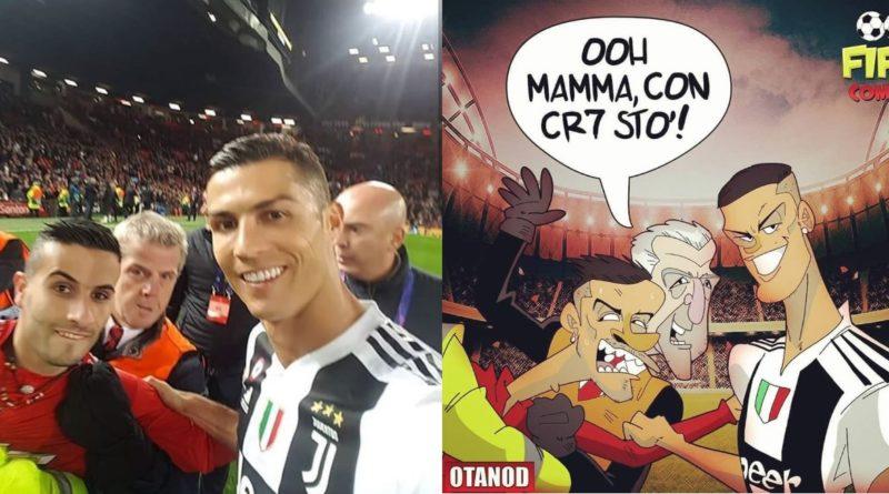 Il selfie di Cristiano Ronaldo con l'invasore di Manchester United-Juventus