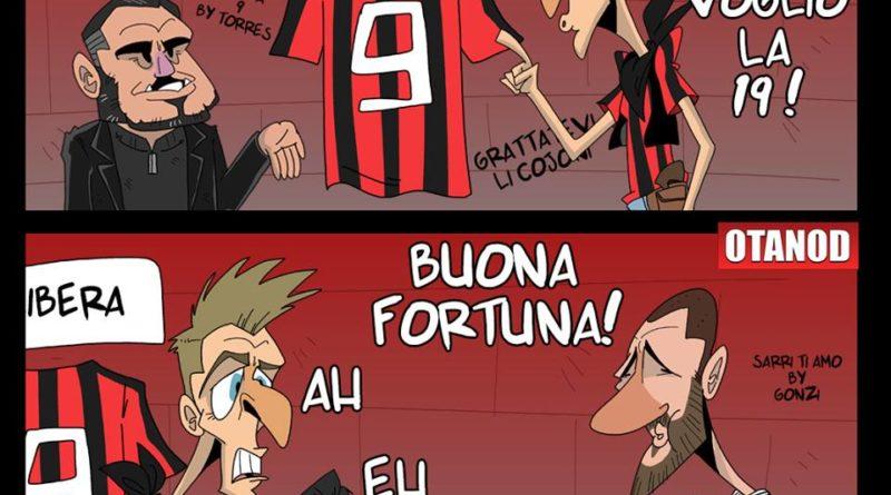 Piątek e la maglia numero 9 del Milan di FIFA comics