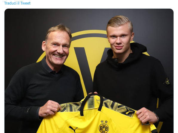 Haaland al Borussia Dortmund - Fonte: https://twitter.com/BVB