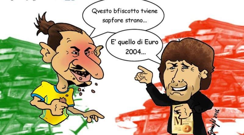Italia-Svezia ed il biscotto con Ibrahimovic e Conte di Genny Vignettas