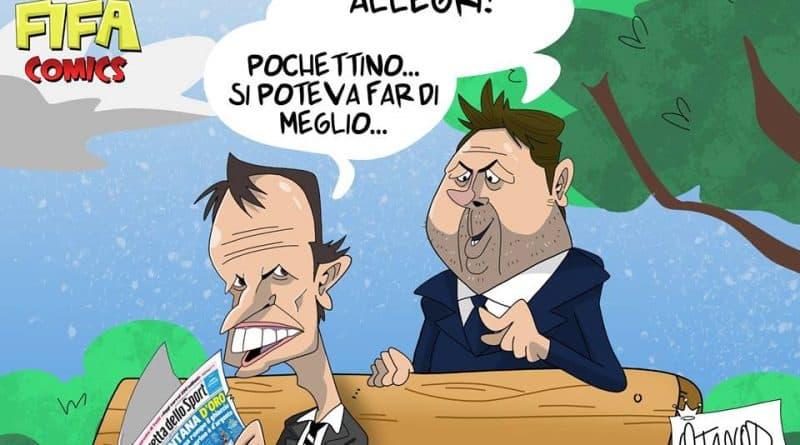 Allegri e Pochettino dopo Juventus-Tottenham di FIFA comics