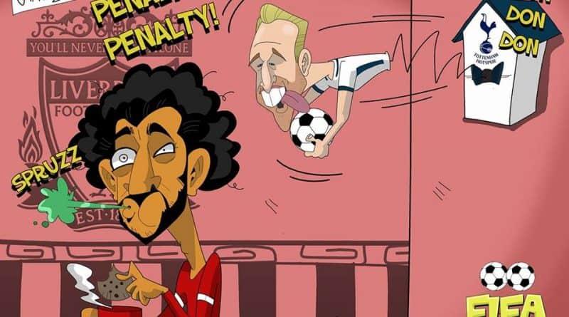 Il pareggio su rigore di Kane in Liverpool-Tottenham di FIFA comics