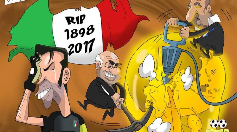 Italia fuori dai Mondiali e Buffon in lacrime di FIFA comics