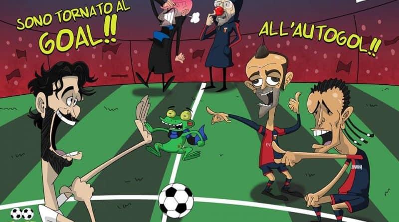 L'autogoal di Ranocchia in Genoa-Inter di FIFA comics