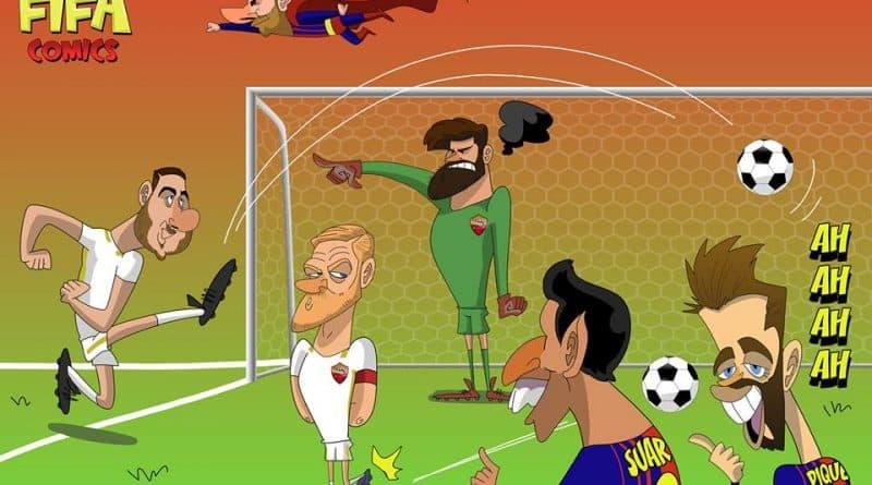 Barcellona-Roma 4-1 con due autogoal di FIFA comics