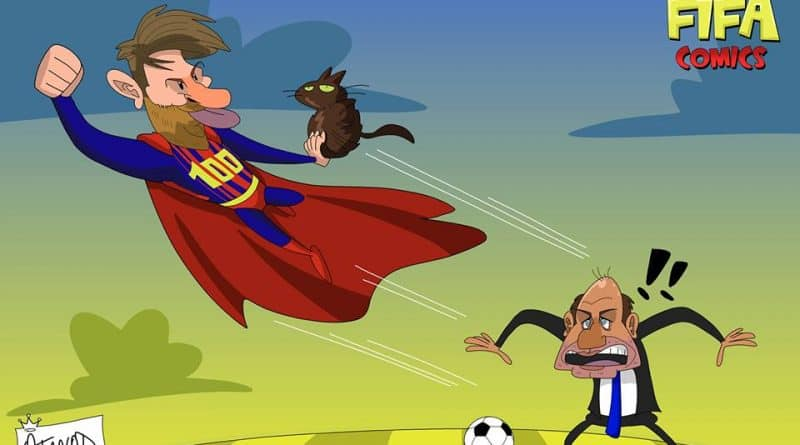 Messi fa il dispetto a Conte in Champions League di FIFA comics