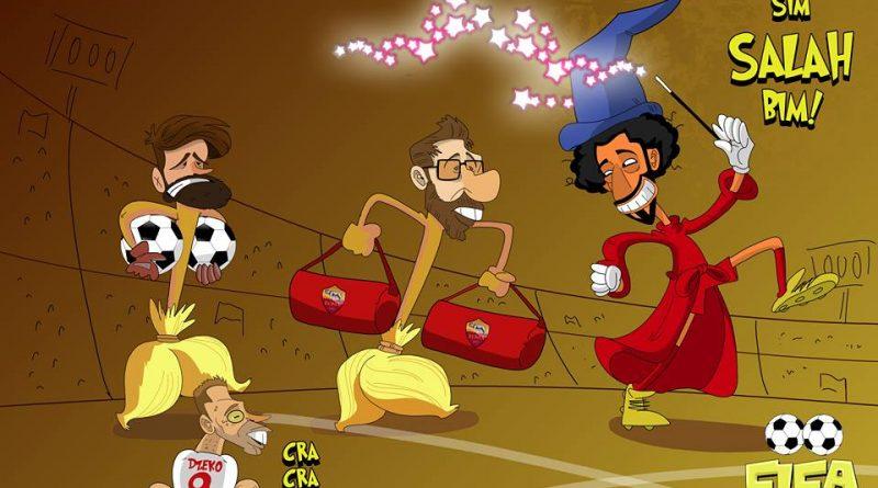 Salah magico in Liverpool-Roma di FIFA comics