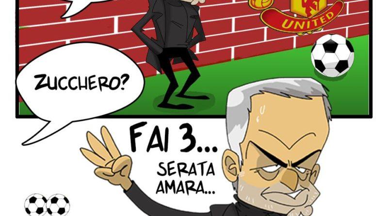 Mourinho mostra il tre del Triplete in Juventus-Manchester United di FIFA comics