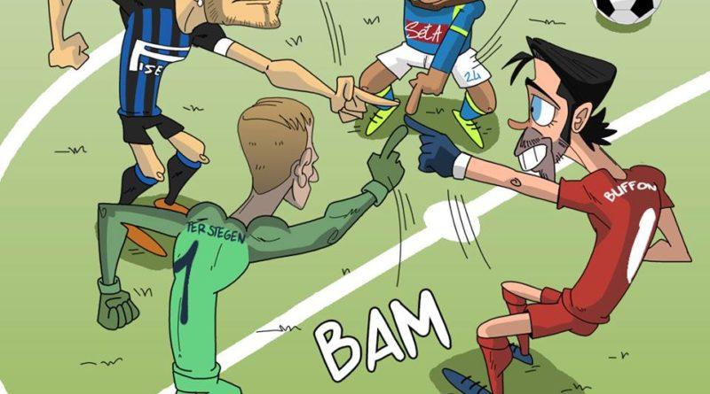 Napoli, PSG, Inter e Barcellona pareggiano 1-1 di FIFA comics